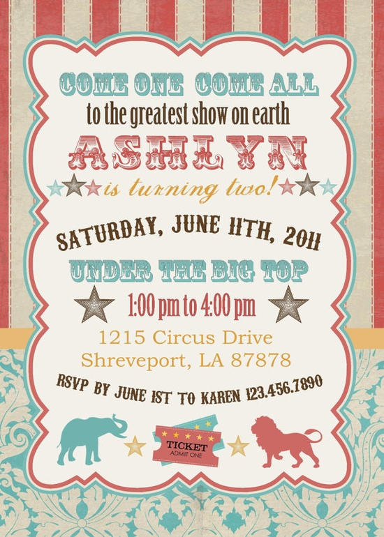 carnival party invitations