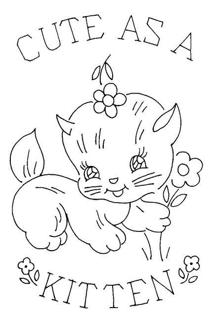 Cute As a Kitten vintage embroidery pattern