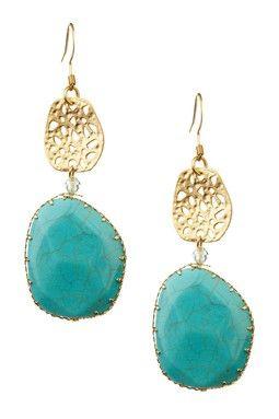 Monique Leshman Turquoise Agate Drop Earrings