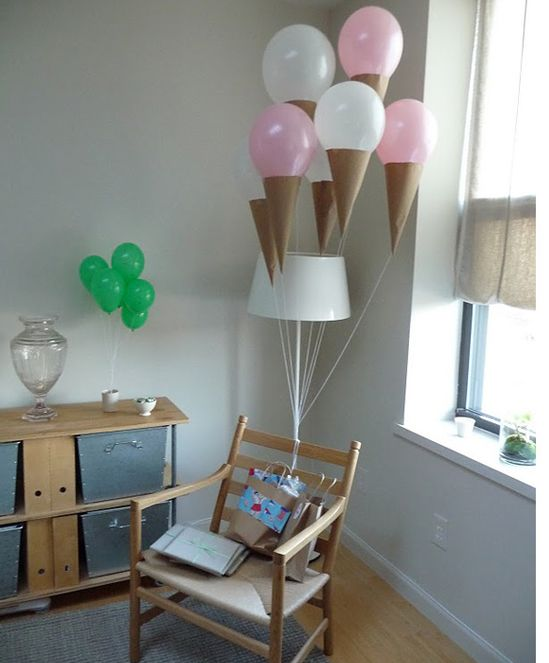 ice cream cone balloons! Cute birthday party decor.