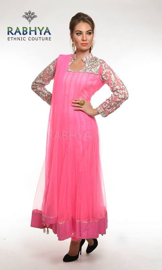 Style Code : 9768 - Pink net kalidar with thread work on the yoke and sleeves . The thread work design highlighted with cut dana and swarovski work. The kalidar and dupatta has brocade border . Matching Lycra .   Shop now with www.rabhyaethnic.com or visit our store at: South Ex-II, New Delhi.