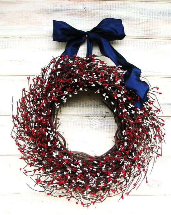 4th of JULY Red White & Blue PATRIOTIC Wreath by WildRidgeDesign on Etsy #summer #decor #4thofjuly
