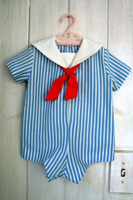 vintage baby striped SAILOR romper