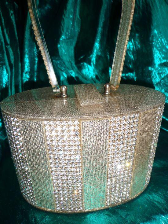 Vintage glitter and rhinestone lucite purse