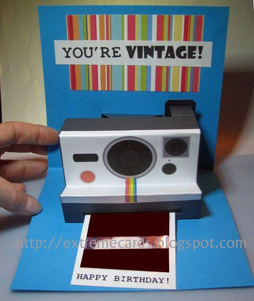 Polaroid Camera Pop Up Birthday Card (with printable template)