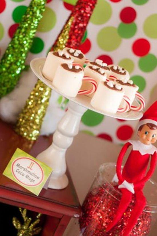 Cute Marshmallow hot chocolate mugs!  KarasPartyIdeas.com #ChristmasParty #HolidayParty #marshmallowhotchocolate
