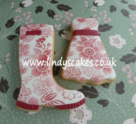 Lindy's cherry blossom stencil on a wellie boot and party dress cookie by Lindy's cakes, via Flickr