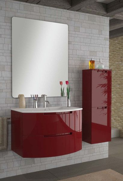 Modern Bathroom Glossy Red Vanity Set