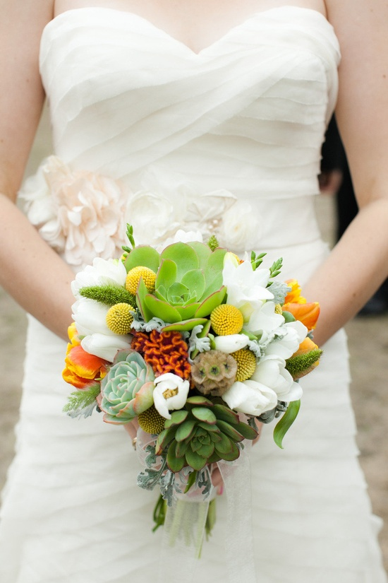 succulent adorned bouquet ~ floral design by mendocinofloralde..., photography by weddingsbysashagu...