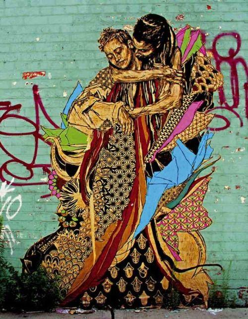 an urban kiss - awesome graffiti art by swoon