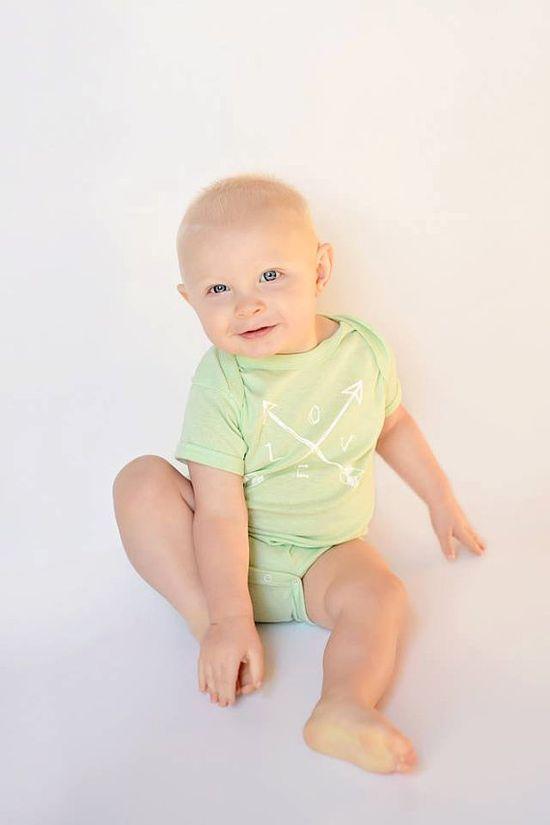 Organic Baby Onesie Crossed Arrows Love Newborn by twiddleANDtweet
