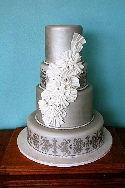 Grey w/ White Flowers Wedding Cake