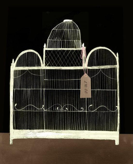 Antique bird cage print.
