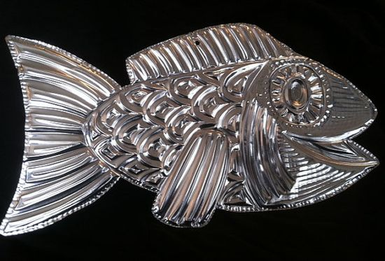 Whimsical Hand Tooled Metal Fish Sculpture on Etsy, $8.00