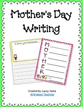 Freebie for Mother's Day: This pack includes two writing activities for Mother's Day.