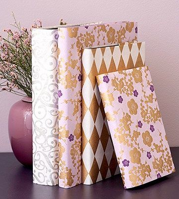 Elegant Book Jackets -Lovely handmade papers make these journals more than just a good read. Remove the existing jackets and use as a pattern. Cut the paper to size and then replace the original jacket with the new cover