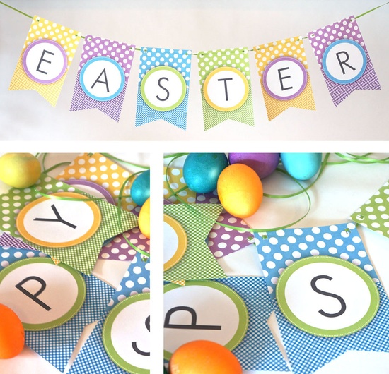 Printable Banner, Happy Easter with Dots & Gingham. $8.99, via Etsy.