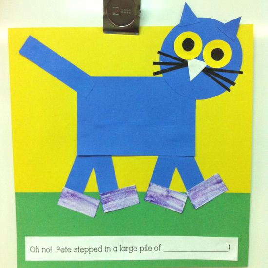 Pete the Cat using shapes  What did he step in to make his shoes go from white to another color?