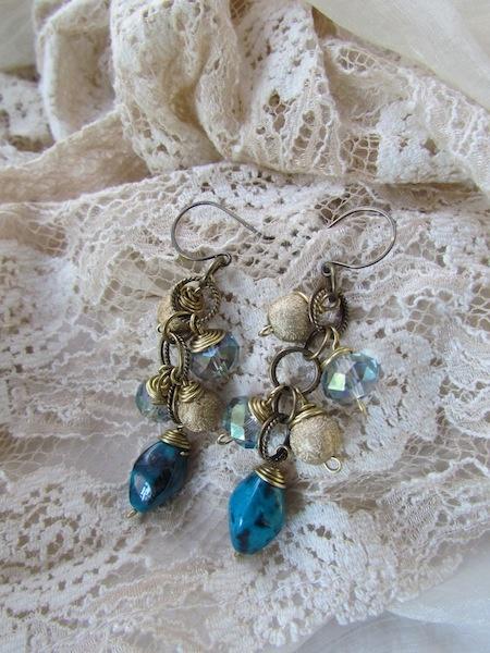 Brass and Glass   Handmade  Earrings