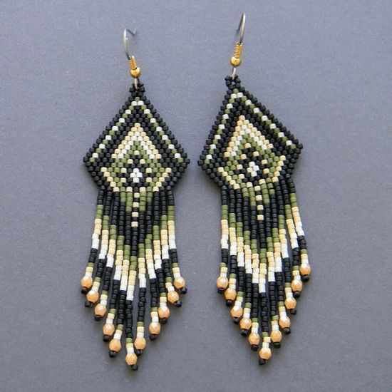 Colorful peyote earrings  beaded jewelry by Anabel27shop on Etsy,