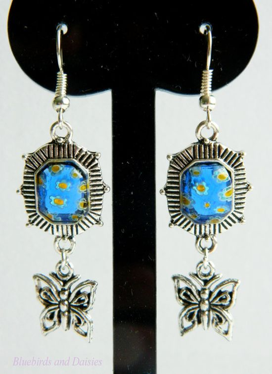 Blue Millefiori and Butterfly Earrings by Bluebirdsanddaisies, £4.50