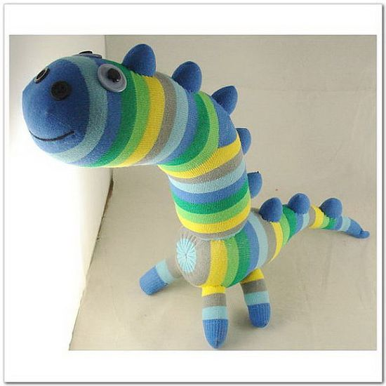 Handmade Sock Dinosaur Stuffed Animal Doll by supersockmonkeys, $20.99