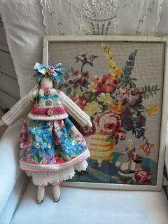 handmade doll, made from vintage fabrics