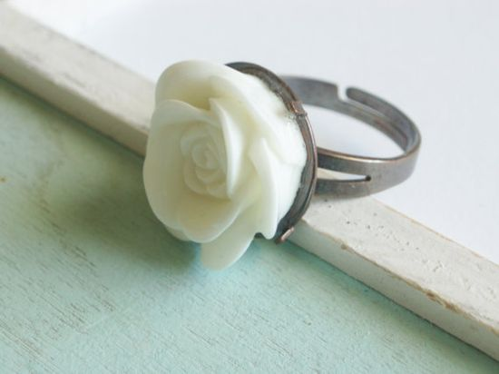 Lucite Rose Ring  Pure White by linkeldesigns on Etsy