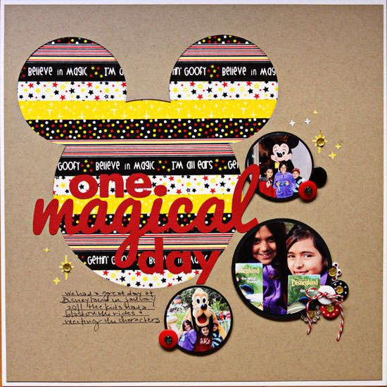 #papercraft #scrapbook #layout #Disney     Layout: One Magical day featuring Queen & Co's Magic Trendy Tape Disney scrapbook layout idea