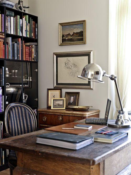 Office space. #home #office #wood #bookshelf #light #art #chair #stripes #gray #blue