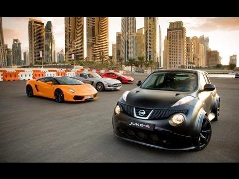 Nissan Juke-R vs Ferrari 458 Italia vs Mercedes SLS amg vs Lamborghini Gallardo Amazing RACE