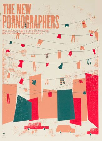 The New Pornographers 2010 Concert Poster By Methane Studios