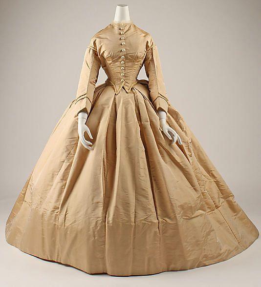 1862-1863 silk dress, American, via MMA