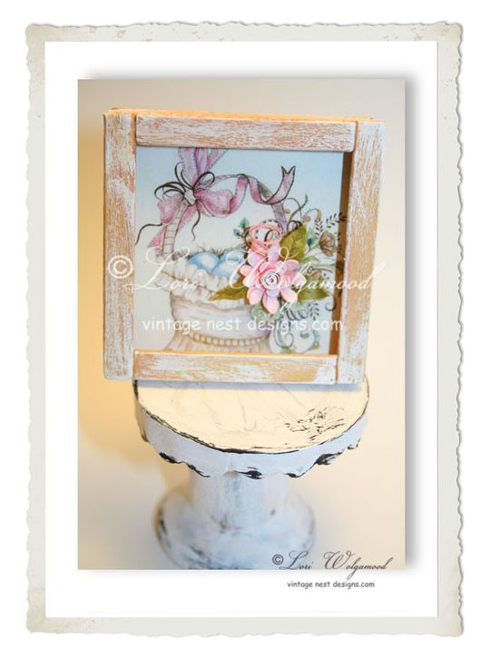 Basket of Flowers No.5 Framed Print for Miniature Doll House - Vintage Nest Designs, Creative Handmade and Hand Painted Designs