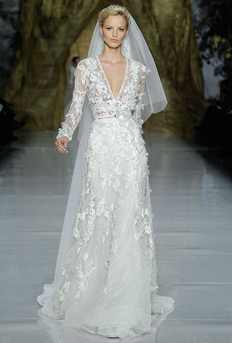 Brides.com: Pronovias Spring 2014 Long Sleeve  Wedding Dress
