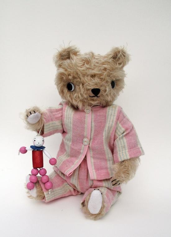 very sweet mohair bear in pajamas