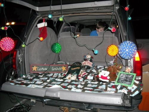 Christmas decorated Halloween trunk