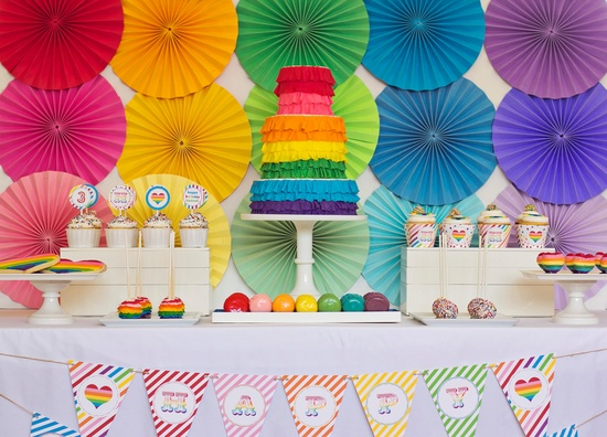 DIY Printable Party Hat - Rainbow Party. $8.00, via Etsy.