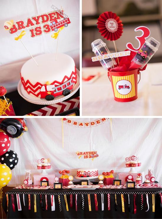 Fire Truck Themed Birthday Party Kids Boy Red Yellow