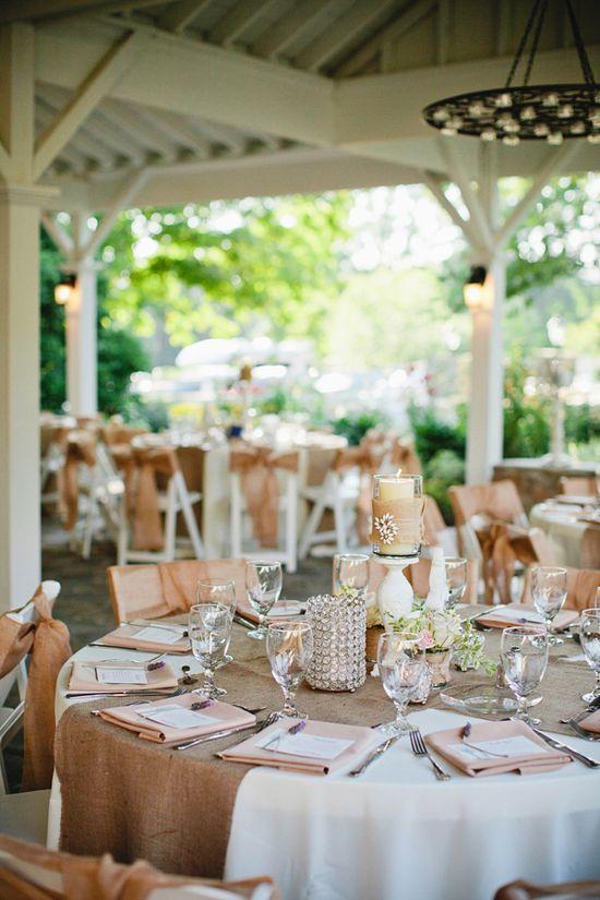 burlap table details #wedding
