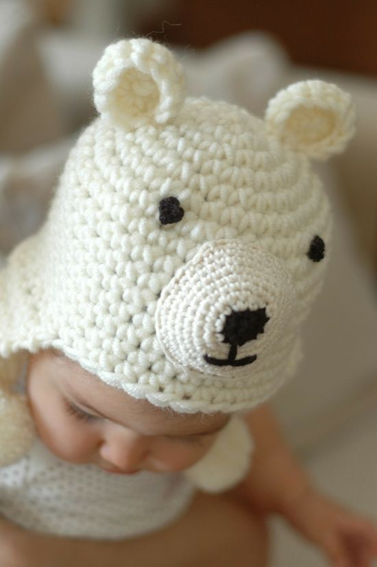 Newborn Polar Bear Hat Available size up to 0 to 3 Month Babies #babyhat @BabyList Baby Registry Baby Registry
