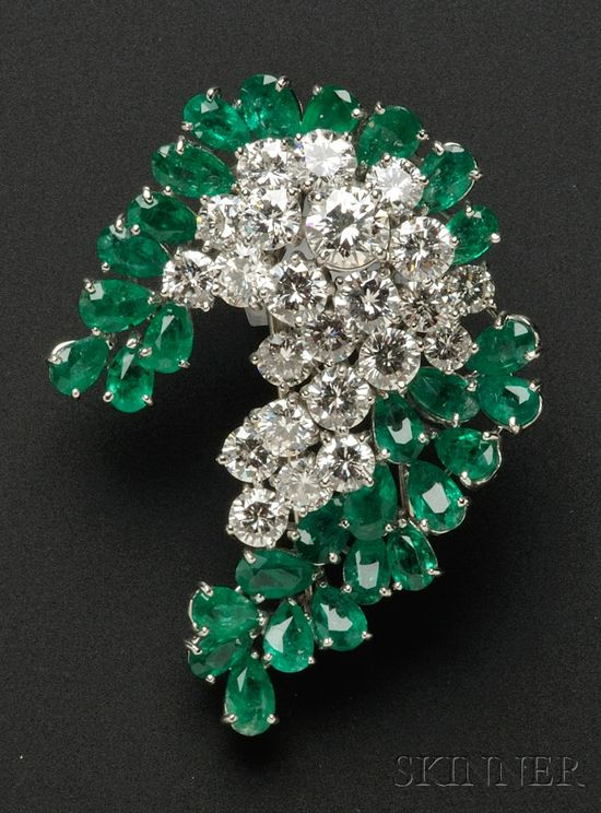 CARTIER 1970s . Platinum, Diamond, and Emerald Brooch, prong-set with circular-cut diamonds and pear-cut emeralds, approx. total diamond wt. 5.96 cts. Emeralds are pleasant and lively, typical inclusions and feathers. Diamonds are very vibrant and lively, clean, white stones.