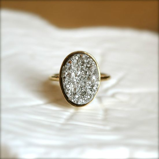 Silver Oval Druzy Gold Ring by illuminancejewelry on Etsy, $38.00