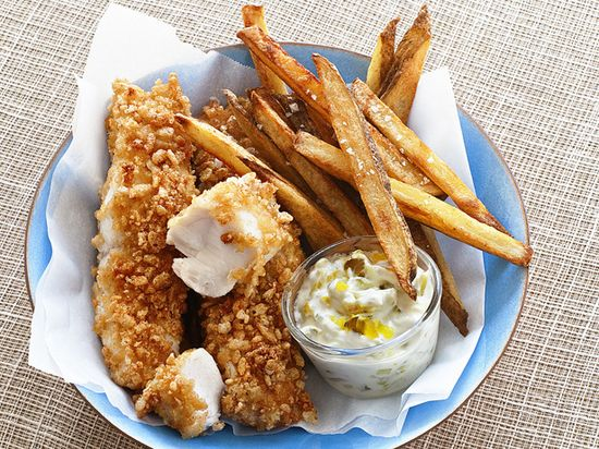 Baked Fish and Chips: Try a lighter take on this British classic: The fish and fries are both baked in the oven instead of deep-fried. YUMMY AGAIN, LOVE DEEP FRIED BUT IF YOU CAN MAKE IT HEALTHIER EVEN BETTER :).