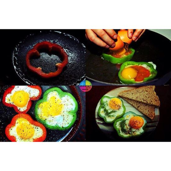 Breakfast flower eggs using peppers! So you dont have to buy the thing at the store, you know what i mean lol