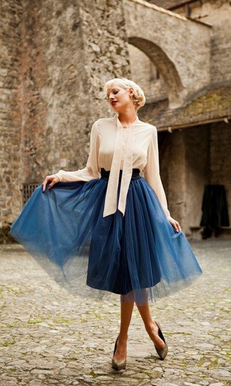 Navy Tulle Skirt
