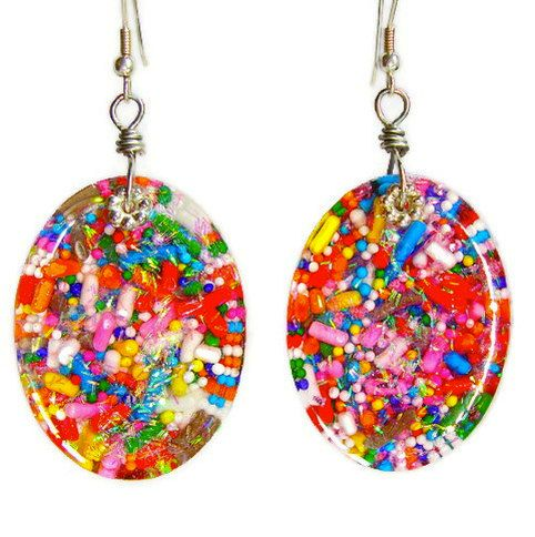 Candy resin earrings  cupcake sprinkle by sparklecityjewelry, $20.00