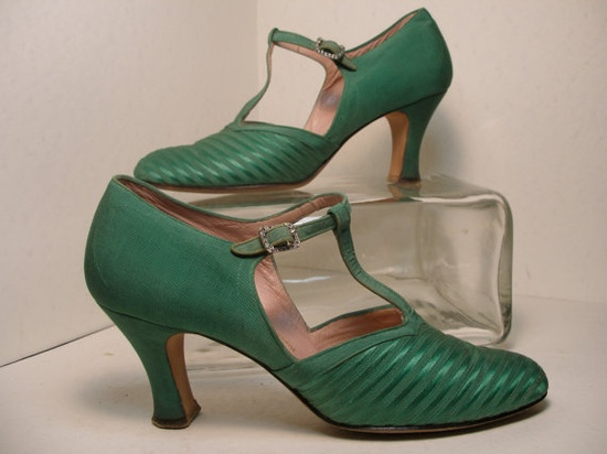 1930s Kellly Green TStrap Shoe with by KravenBlaylockDesign, $145.00