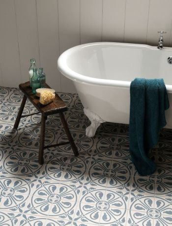 Beautiful floor tiles that really transform a this bathroom into something special. These tiles are by Original Style.