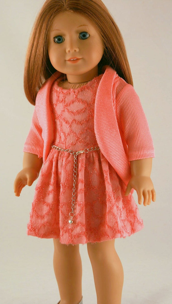 INSPIRATION! American Girl Doll Clothes - Spring Dress in Coral Knit, Sparkly Knit  Jacket, and Chain Belt. $28.00, via Etsy.  Could the belt be an old bracelet? Hmm...something to ponder when thrifting again.